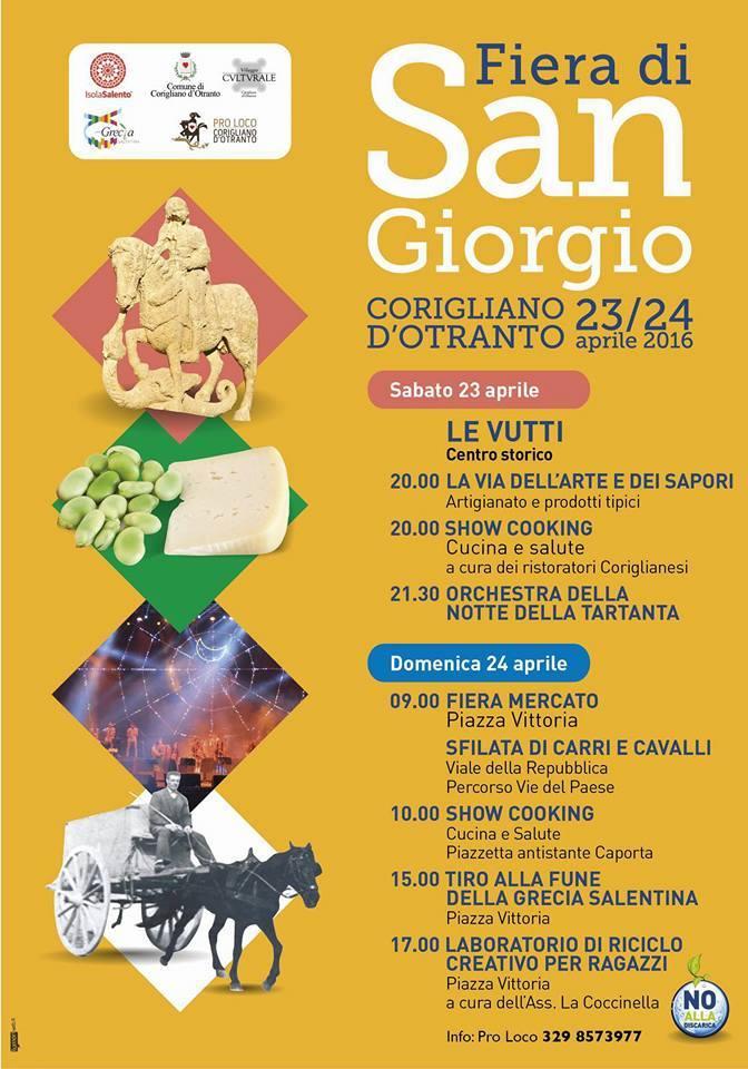 23-24/04 Corigliano d'Otranto Festa di san Giorgio: in fiera con i biosaponi