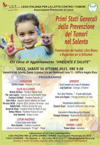 """""""Primi Stati Generali della Prevenzione dei Tumori nel Salento"""", il 30 ottobre il convegno finale"""